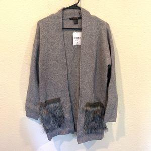 NWT F21 Contemporary gray cardigan fur pockets